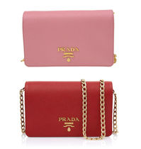 PRADA Leather Chain Shoulder Bag (Red/Pink)