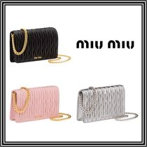 MiuMiu MATELASSE Chain Plain Leather Party Style Clutches