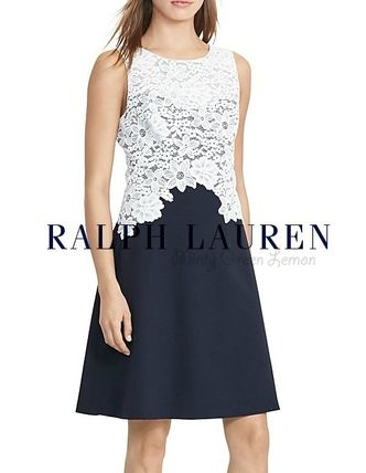 Floral lace white & navy
