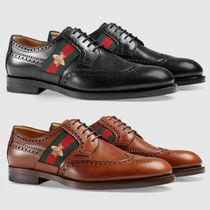 GUCCI Plain Toe Street Style Leather Oxfords