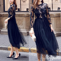 Crew Neck Flared Long Sleeves Medium Lace Party Dresses