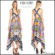Nicole Miller Silk Sleeveless Flared Long Party Dresses