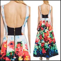 Nicole Miller Flower Patterns Maxi Sleeveless Long Party Dresses