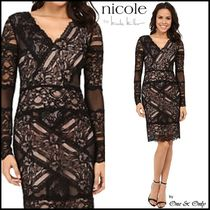 Nicole Miller Tight V-Neck Long Sleeves Plain Medium Lace Party Dresses
