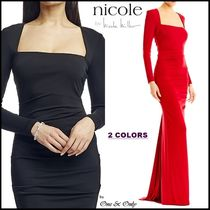 Nicole Miller Maxi Long Sleeves Plain Long Party Dresses