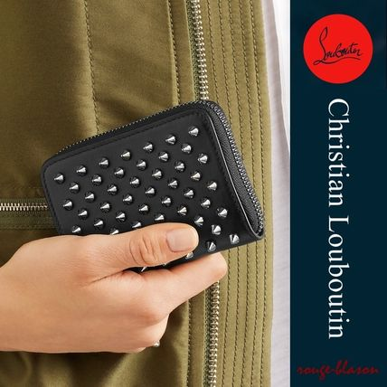 Christian Louboutin Panettone  Studded Plain Leather Coin Cases