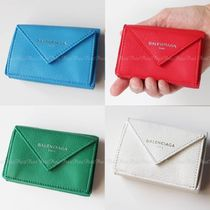 BALENCIAGA Unisex Plain Leather Folding Wallets