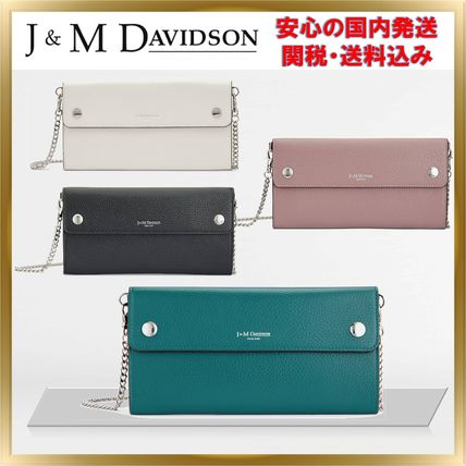 J & M Davidson 2WAY Chain Plain Leather Party Style Clutches
