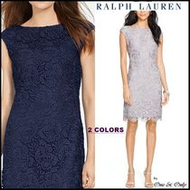 Ralph Lauren Tight Sleeveless Boat Neck Plain Medium Lace Party Dresses