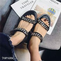 Open Toe Casual Style Faux Fur Chain Plain Slippers Sandals