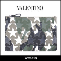 VALENTINO Star Camouflage Unisex Bag in Bag Leather Clutches