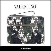 VALENTINO Star Camouflage Unisex Leather Clutches