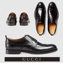 GUCCI Wing Tip Plain Leather Oxfords
