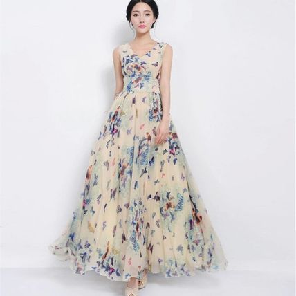 Floral style Butterfly no sleeve longs chiffon dress