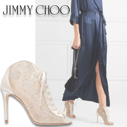 Jimmy Choo Open Toe Lace-up Blended Fabrics Plain Leather Pin Heels