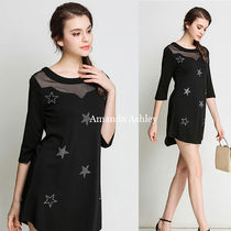 Star Casual Style Nylon Cropped Tunics
