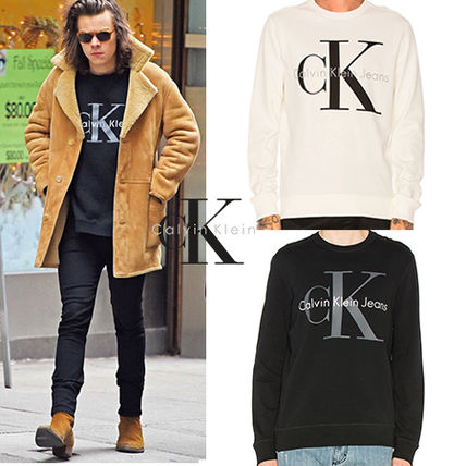 Calvin Klein Crew Neck Pullovers Street Style Long Sleeves Plain Cotton