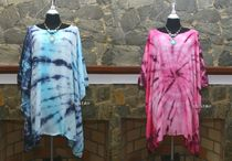 Tie-dye U-Neck Puff Sleeves Tunics