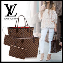 Louis Vuitton NEVERFULL A4 Leather Elegant Style Totes