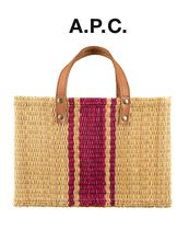 A.P.C. Casual Style Blended Fabrics Bi-color Straw Bags