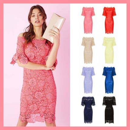 Flower Patterns Tight Medium Party Style Lace Dresses