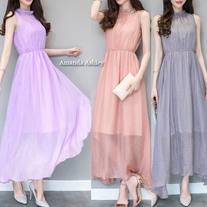 All the back Ribbon ruffle v-neck sleeveless long dress