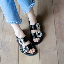 Open Toe Casual Style Enamel With Jewels Slippers Shoes