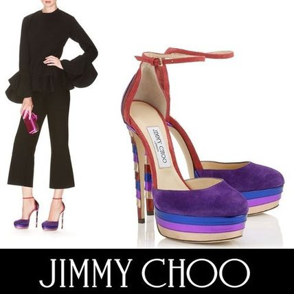 Jimmy Choo Stripes Round Toe Suede Blended Fabrics Plain Pin Heels