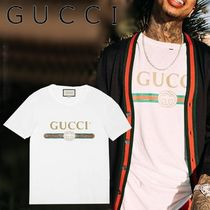 GUCCI Crew Neck Pullovers Cotton Short Sleeves Crew Neck T-Shirts