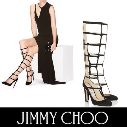 Jimmy Choo Round Toe Suede Plain Pin Heels Party Style