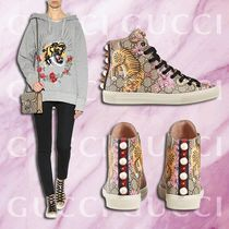 GUCCI Monoglam Round Toe Rubber Sole Lace-up Casual Style Studded