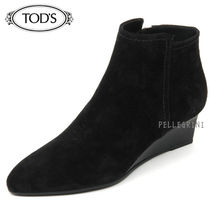 TOD'S Suede Plain Wedge Boots