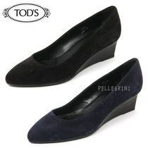 TOD'S Plain Toe Suede Plain Wedge Pumps & Mules