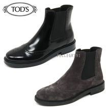 TOD'S Platform Plain Leather Chelsea Boots Ankle & Booties Boots