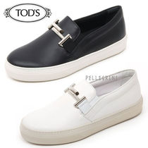 TOD'S Plain Toe Casual Style Plain Leather Loafer Pumps & Mules