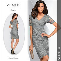 Venus Tight V-Neck Plain Medium Short Sleeves Party Dresses