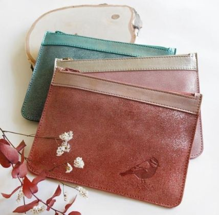 Plain Other Animal Patterns Leather Pouches & Cosmetic Bags