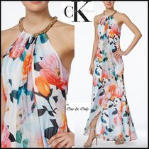 Calvin Klein Flower Patterns Sleeveless Flared Halter Neck Long