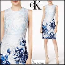 Calvin Klein Flower Patterns Tight Sleeveless Medium Party Dresses