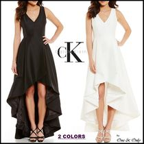Calvin Klein Sleeveless Flared V-Neck Plain Long Party Dresses
