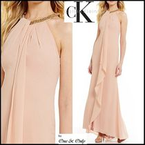 Calvin Klein Maxi Chiffon Sleeveless Halter Neck Plain Long Party Dresses