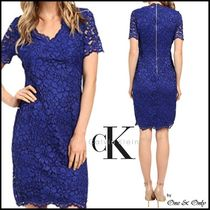 Calvin Klein Tight V-Neck Plain Medium Short Sleeves Lace Party Dresses