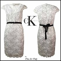 Calvin Klein Tight Puffed Sleeves V-Neck Plain Medium Lace Party Dresses