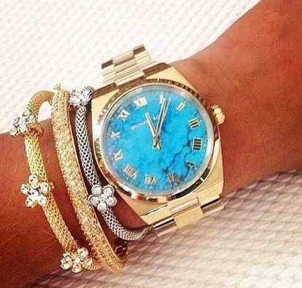 Michael Course Channing Gold Turquoise MK 5894