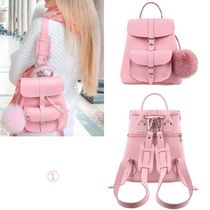 GRAFEA Casual Style 2WAY Plain Leather Backpacks