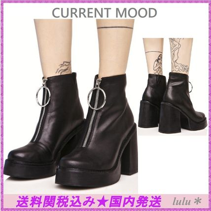 CURRENT MOOD O ring front zippers thick bottom boots