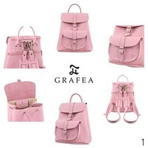 GRAFEA Casual Style Street Style 2WAY Plain Leather Backpacks