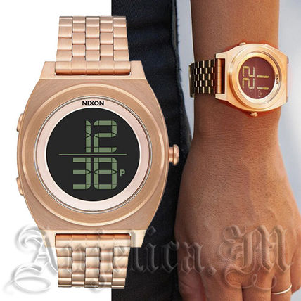 Casual Style Unisex Metal Round Digital Watches