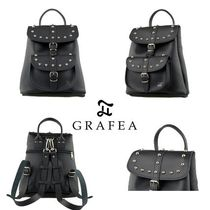 GRAFEA Casual Style Studded 2WAY Leather Backpacks