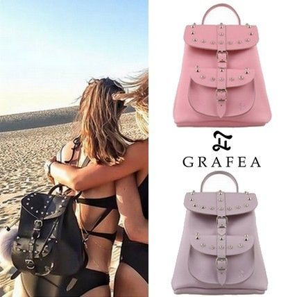 Casual Style Studded 2WAY Leather Backpacks